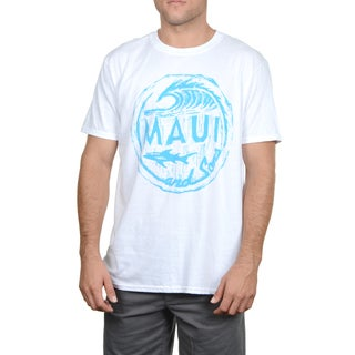 Maui & Sons Men's Wave Rider White Cotton T-shirt