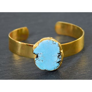 Mint Jules Raw Turquoise Cuff Bangle Adjustable Gold Plated Bracelet