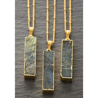 Mint Jules Labradorite Vertical Bar With Gold Overlay Pendant Necklace