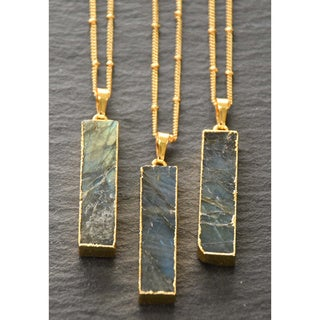 Mint Jules Labradorite Vertical Bar with 24k Gold Overlay Pendant Necklace