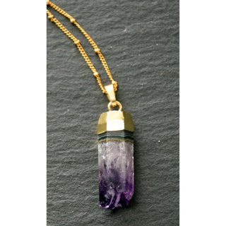 Mint Jules Raw Amethyst Geode Druzy Hexagonal Pendant 24k Gold Plated Necklace