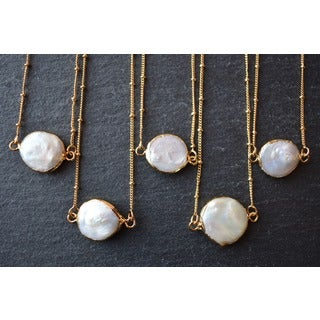 Mint Jules Fresh Water Pearl Coin Pendant Necklace