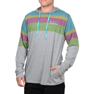 Maui & Sons Men's All or Nothing Blue and Grey Cotton Knit Fashion Hoodie