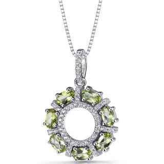 Oravo Sterling Silver 1 3/4ct TGW Peridot Dahlia Pendant Necklace