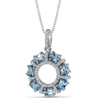Oravo Sterling Silver 1 3/4ct TGW Swiss Blue Topaz Dahlia Pendant Necklace