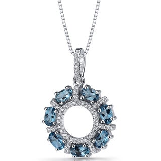 Oravo Sterling Silver 1 3/4ct TGW London Blue Topaz Dahlia Pendant Necklace