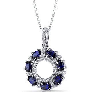 Oravo Sterling Silver 1 3/4ct TGW Created Blue Sapphire Dahlia Pendant Necklace
