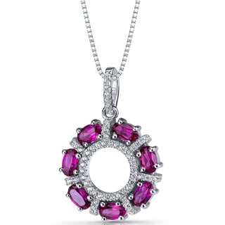 Oravo Sterling Silver 1 3/4ct TGW Created Ruby Dahlia Pendant Necklace