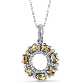 Oravo Sterling Silver Citrine Dahlia Pendant Necklace