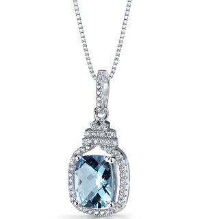 Oravo Sterling Silver 3 1/4ct TGW Swiss Blue Topaz Halo Crown Pendant Necklace