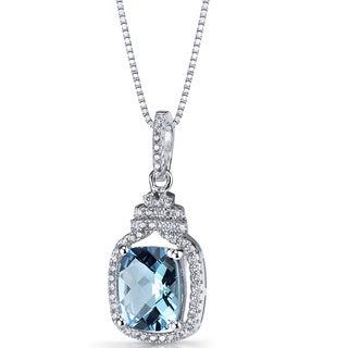 Oravo Sterling Silver 3 1/4ct TGW Swiss Blue Topaz Halo Crown Pendant Necklace