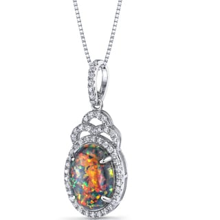 Oravo Sterling Silver 2 1/4ct TGW Created Black Opal Harlequin Pendant Necklace