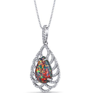 Oravo Sterling Silver 2.75ct TGW Created Black Opal Vintage Pendant Necklace