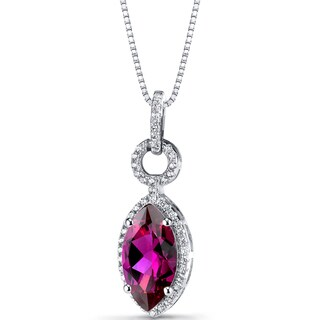 Oravo Sterling Silver 3 1/2ct TGW Created Ruby Marquise Pendant Necklace