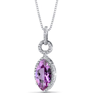 Oravo Sterling Silver 3 1/2ct TGW Created Pink Sapphire Marquise Pendant Necklace