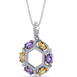 Oravo Sterling Silver 1 1/5ct TGW Amethyst and Citrine Hexagon Pendant Necklace