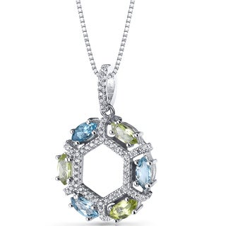 Oravo Sterling Silver 1 1/2ct TGW Swiss Blue Topaz and Peridot Hexagon Pendant Necklace