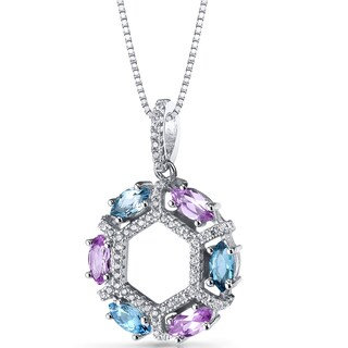 Oravo Sterling Silver 1 1/2ct TGW Created Pink Sapphire and Swiss Blue Topaz Hexagon Pendant