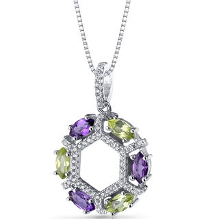 Oravo Sterling Silver Amethyst and Peridot Hexagon Pendant Necklace