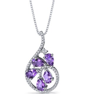 Oravo Sterling Silver 1 1/4ct TGW Amethyst Dewdrop Pendant Necklace