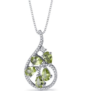 Oravo Sterling Silver 2 1/2ct TGW Peridot Dewdrop Pendant Necklace