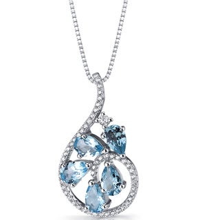 Oravo 2.5-carat Swiss Blue Topaz Sterling Silver Dewdrop Pendant Necklace