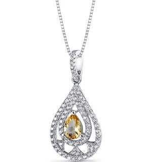 Oravo Sterling Silver 1/2ct TGW Citrine Chandelier Pendant Necklace
