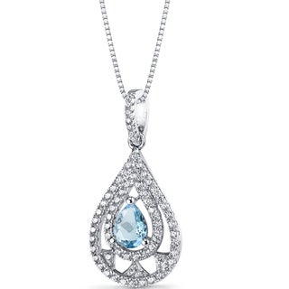 Oravo Sterling Silver 3/4ct TGW Swiss Blue Topaz Chandelier Pendant Necklace
