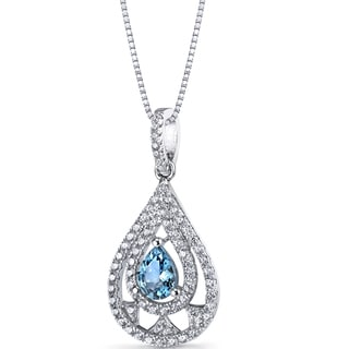 Oravo Sterling Silver 3/4ct TGW London Blue Topaz Chandelier Pendant Necklace