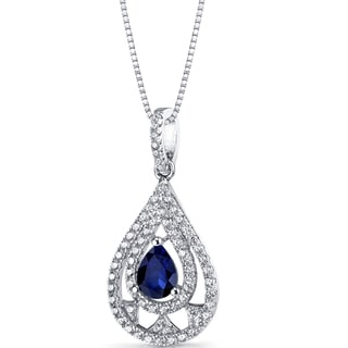 Oravo Sterling Silver 1ct TGW Created Blue Sapphire Chandelier Pendant Necklace