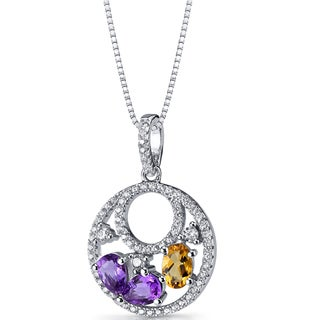 Oravo Sterling Silver Amethyst/Citrine Double-hoop Pendant Necklace