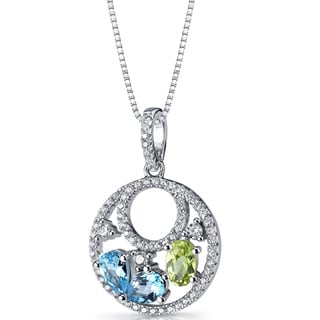 Oravo Sterling Silver 1 1/2ct TGW Swiss Blue Topaz and Peridot Double Hoop Pendant Necklace