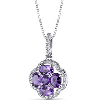 Oravo Sterling Silver 2 1/4ct TGW Amethyst Clover Pendant Necklace