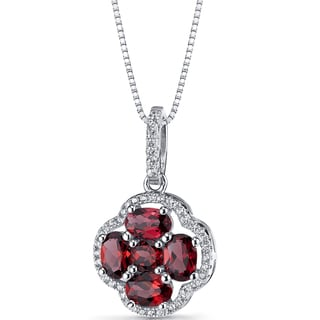 Oravo Sterling Silver and 2.25-carat Garnet Clover Pendant Necklace With 18-inch Box Chain