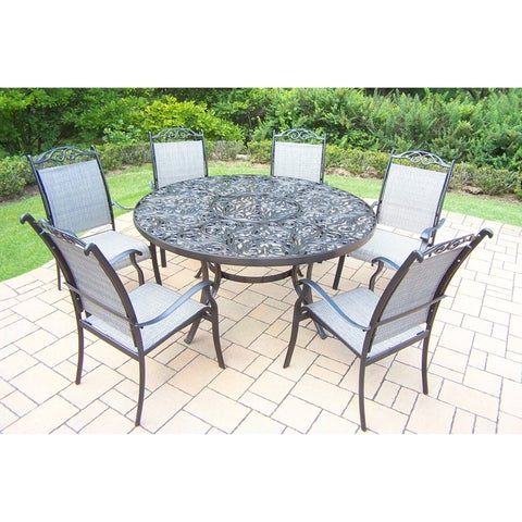 Oakland Living Aluminum 7-piece Black Sling Dining Set