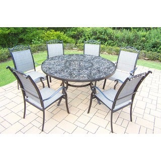 Oakland Living Aluminum 7-piece Black and Brown Dining Set