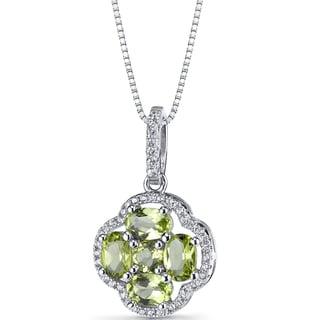 Oravo Sterling Silver 2 1/4ct TGW Peridot Clover Pendant Necklace