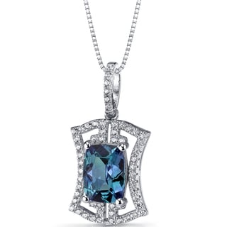 Oravo Sterling Silver 3ct TGW Simulated Alexandrite Art Deco Pendant Necklace