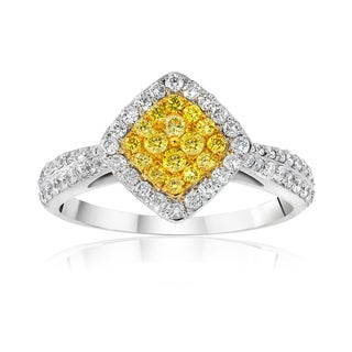 18k Two-tone 3/4ct TDW Natural Yellow and White Diamond Halo Cluster Ring
