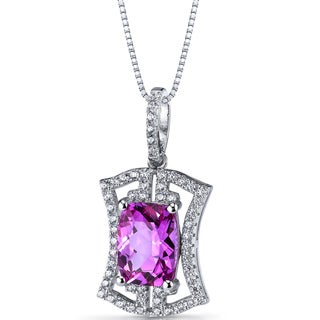 Oravo Sterling Silver 4.5ct TGW Created Pink Sapphire Art Deco Pendant Necklace