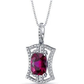 Oravo Sterling Silver 4 3/4ct TGW Created Ruby Art Deco Pendant Necklace