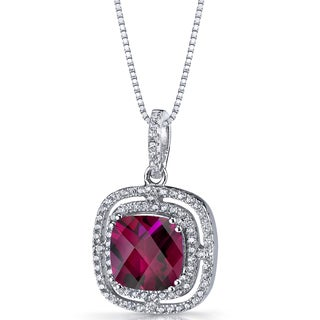 Oravo Sterling Silver 4 1/4ct TGW Created Ruby Cushion Cut Pendant Necklace