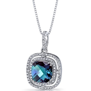 Oravo Sterling Silver 4 1/4ct TGW Simulated Alexandrite Cushion Cut Pendant Necklace