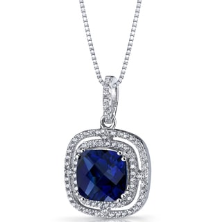 Oravo Sterling Silver 4 1/4ct TGW Created Blue Sapphire Cushion Cut Pendant Necklace