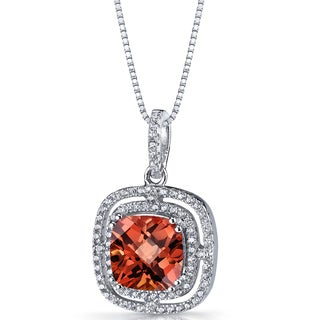 Oravo Sterling Silver 4.25 Carats Created Padparascha Cushion Cut Pendant Necklace