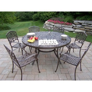 8-Piece Outdoor Patio Dining Set with Stainless Steel Ice Bucket