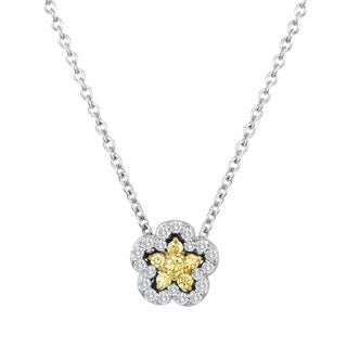 18k Two-tone Gold 1/5ct TDW Yellow and White Diamond Flower Necklace