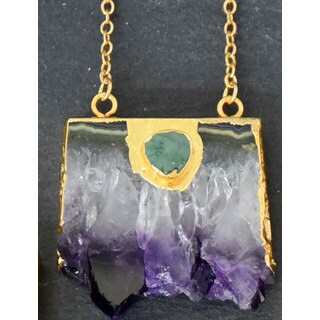 Mint Jules Raw Amethyst Slice Bar With Turquoise Embellishment Druzy Geode Gold-Plated 18-Inch Penda