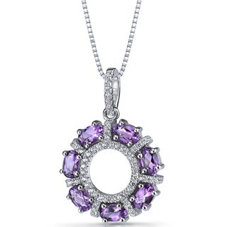 Oravo Sterling Silver 1 3/4ct TGW Amethyst Dahlia Pendant Necklace