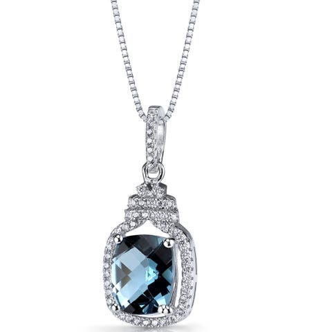Oravo Sterling Silver 3 1/4ct TGW London Blue Topaz Halo Crown Pendant Necklace